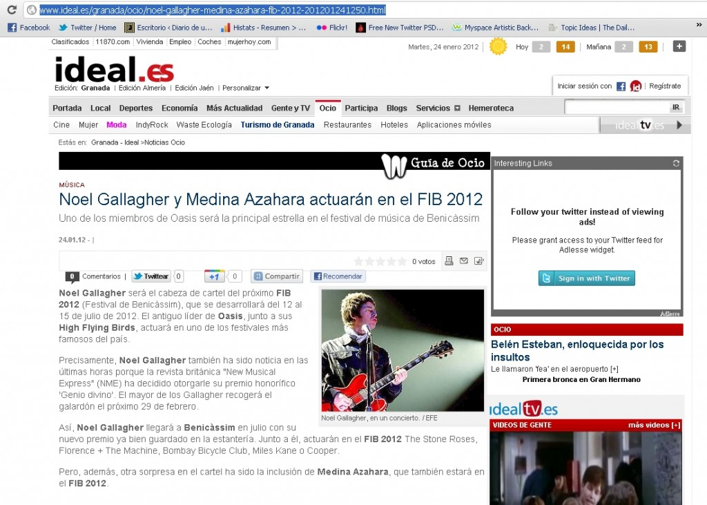 Captura de pantalla de la noticia publicada en el diario digital ideal.es