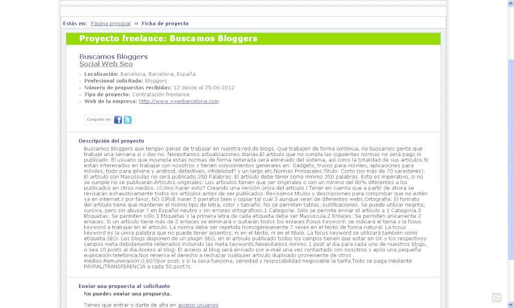 Captura de pantalla de la oferta, por @Larronte