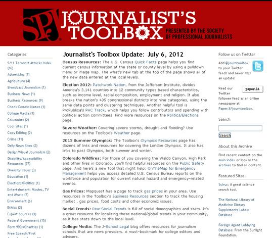 Captura web Journalist's toolbox