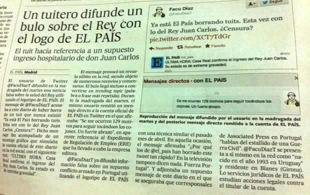 Imagen del artículo dedicado al tuitero en la edición impresa de El País