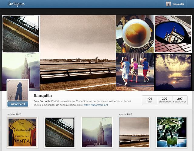 perfil web en instagram