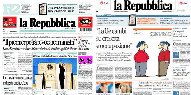 La portada de La Repubblica ayer y hoy