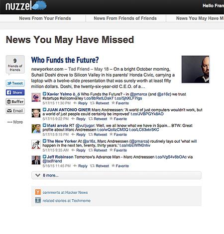 detalle Nuzzel versión web